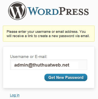 Cách tạo mới mật khẩu admin